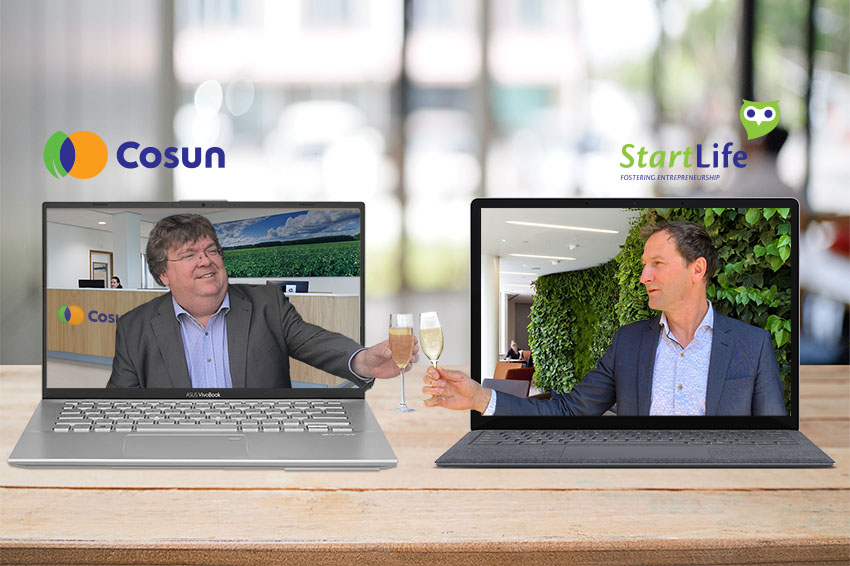 Virtual Champaign Toasting on Partnership between Cosun and StartLife