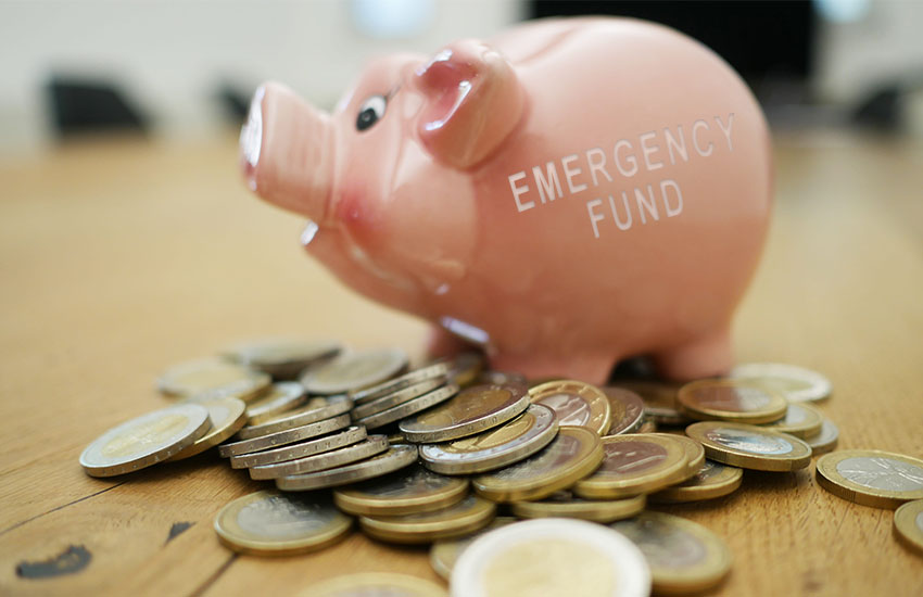 Emergency fund piggy euro coins